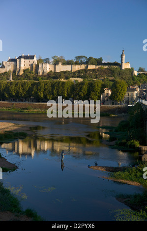 Chateau and River Vienne, Chinon, Indre-et-Loire, Touraine, France, Europe - Stock Photo