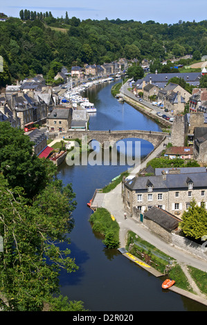 Rance River valley and Dinan harbour with the Stone Bridge, Dinan, Brittany, France, Europe - Stock Photo