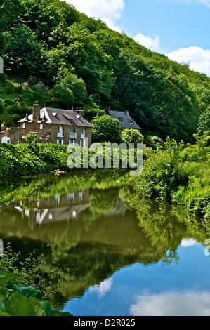 River Rance banks, Dinan, Brittany, France, Europe - Stock Photo