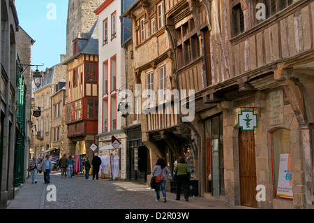 Medieval half timbered houses in streets of old town, Dinan, Brittany, France, Europe - Stock Photo