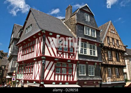 Medieval half timbered houses, old town, Morlaix, Finistere, Brittany, France, Europe - Stock Photo