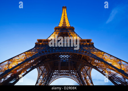 Eiffel Tower in the evening, Paris, France, Europe - Stock Photo