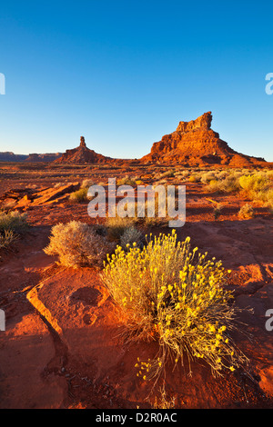 Sitting Hen Butte and Rooster Butte at sunset, Valley of the Gods, Utah, United States of America, North America - Stock Photo
