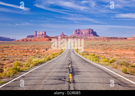 Empty Road, Highway 163, Monument Valley, Utah, United States of America, North America - Stock Photo