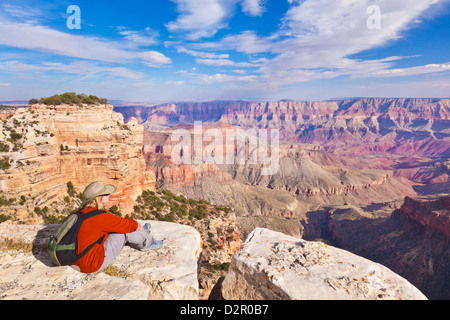 Female Tourist Hiker, Walhalla overlook, North Rim, Grand Canyon National Park, Arizona, USA - Stock Photo
