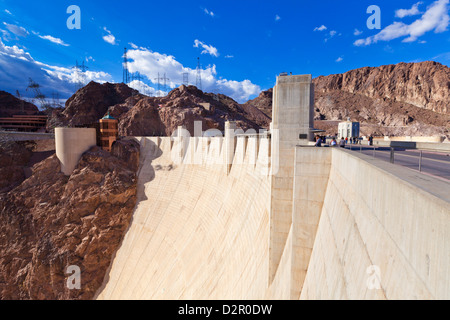 Hoover Dam wall, Boulder City, Nevada, United States of America, North America - Stock Photo