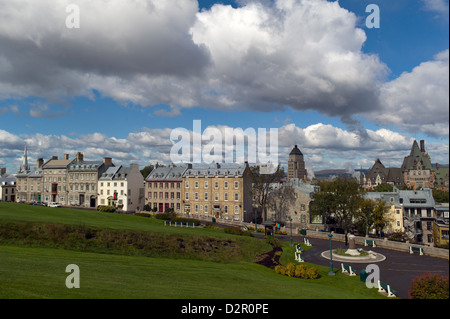 View of Quebec City from the citadel, Quebec Province, Canada, North America - Stock Photo