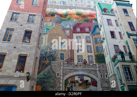 Mural of Quebecers, Quebec City, Quebec Province, Canada, North America - Stock Photo