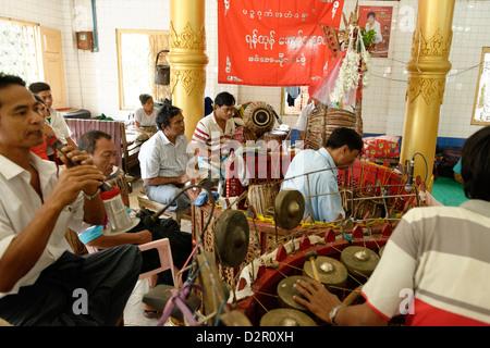 The hsaing waing, a traditional Burmese folk musical ensemble, Pyin U Lwin (Maymyo), Mandalay Division, Myanmar - Stock Photo
