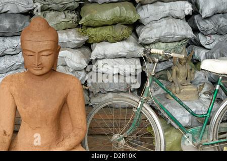Lost-wax casting open air workshop, Amarapura, Mandalay Division, Republic of the Union of Myanmar (Burma), Asia - Stock Photo