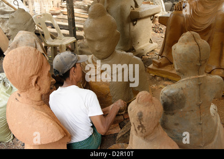 Lost-wax casting open air workshop, Amarapura, Mandalay Division, Republic of the Union of Myanmar (Burma), Asia - Stock Photo