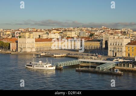 View from a cruise ship, early morning light over the Praca de Comercio, Lisbon, Portugal, Europe - Stock Photo