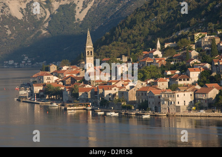 A small town on the fjord approaching Kotor, Montenegro, Europe - Stock Photo