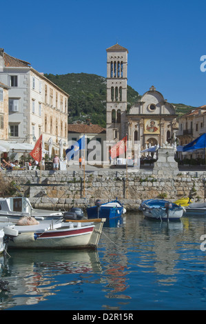 St. Stephen's Cathedral from the old harbour in the medieval City of Hvar, island of Hvar, Dalmatia, Croatia, Europe - Stock Photo