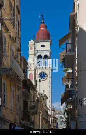St. Spyridion Church Bell Tower, Corfu Town, Corfu, Ionian Islands, Greek Islands, Greece, Europe - Stock Photo