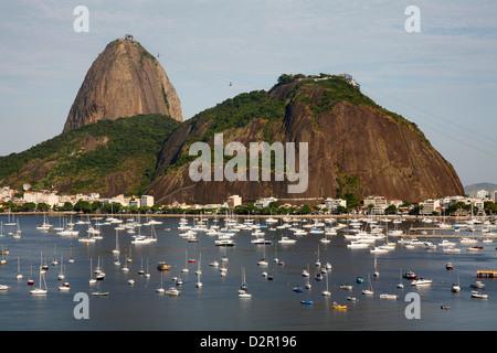 View of the Pao de Acucar (Sugar Loaf mountain) and the Bay of Botafogo, Rio de Janeiro, Brazil, South America - Stock Photo