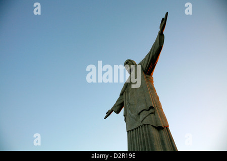 The statue of Christ the Redeemer on top of the Corcovado mountain, Rio de Janeiro, Brazil, South America - Stock Photo