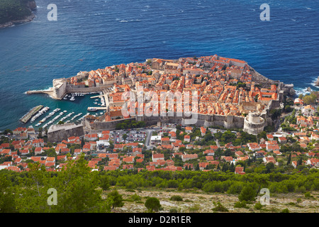 Aerial view of the Dubrovnik Old Town, Croatia - Stock Photo