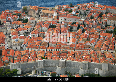 Dubrovnik, Old Town ond the city walls, Croatia - Stock Photo