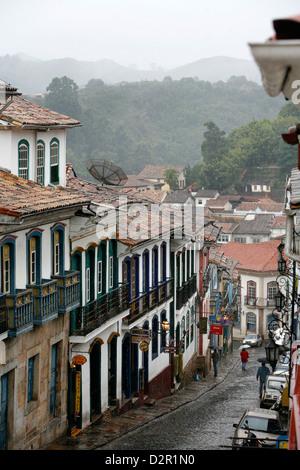 Street scene in Ouro Preto, UNESCO World Heritage Site, Minas Gerais, Brazil, South America - Stock Photo