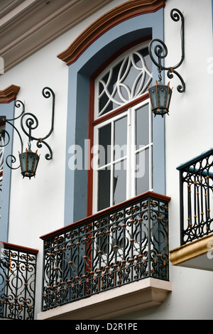 House facade of colonial building in Ouro Preto, UNESCO World Heritage Site, Minas Gerais, Brazil, South America - Stock Photo