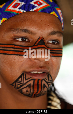 Portrait of a Pataxo Indian man at the Reserva Indigena da Jaqueira near Porto Seguro, Bahia, Brazil, South America - Stock Photo