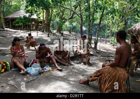 Pataxo Indian people at the Reserva Indigena da Jaqueira near Porto Seguro, Bahia, Brazil, South America - Stock Photo