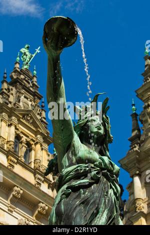 Neo-renaissance statue in a fountain at the Hamburg Rathaus (City Hall), opened 1886, Hamburg, Germany, Europe - Stock Photo