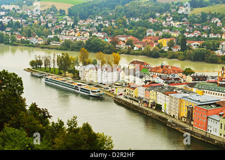 View of Passau with rivers Danube and Inn, Bavaria, Germany, Europe - Stock Photo