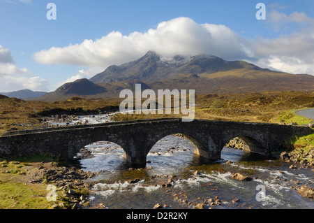 Sgurr nan Gillean from Sligachan, Isle of Skye, Inner Hebrides, Scotland, United Kingdom, Europe - Stock Photo