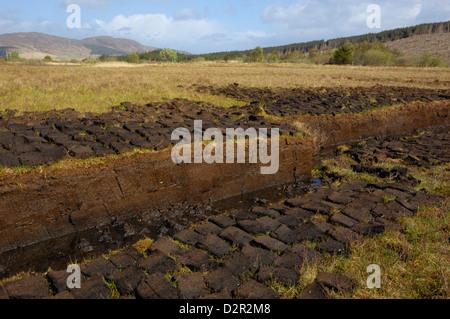 Peat cutting, Isle of Skye, Inner Hebrides, Scotland, United Kingdom, Europe - Stock Photo