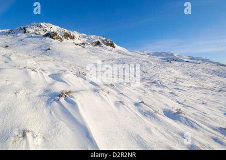 Buchan Hill in winter snow, Galloway Hills, Dumfries and Galloway, Scotland, United Kingdom, Europe - Stock Photo