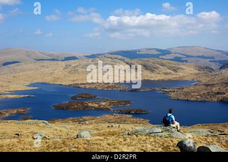 Loch Enoch from Merrick, Galloway Hills, Dumfries and Galloway, Scotland, United Kingdom, Europe - Stock Photo