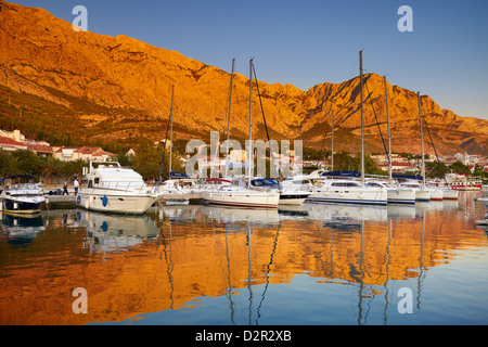 Baska Voda, small harbor in Makarska Riviera, Croatia - Stock Photo