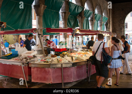 Fish market at Ponte di Rialto, Venice, Veneto, Italy, Europe - Stock Photo