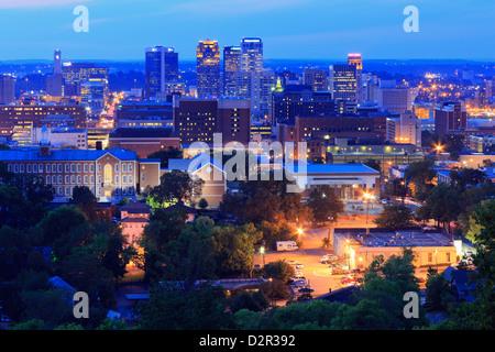 Birmingham skyline at twilight, Birmingham, Alabama, United States of America, North America - Stock Photo
