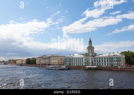 The River Neva and Kunstkammer building, St. Petersburg, Russia, Europe - Stock Photo