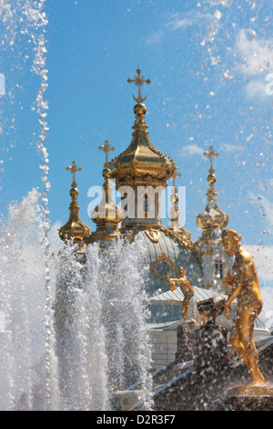 Golden statues and fountains of the Grand Cascade at Peterhof Palace, St. Petersburg, Russia, Europe - Stock Photo