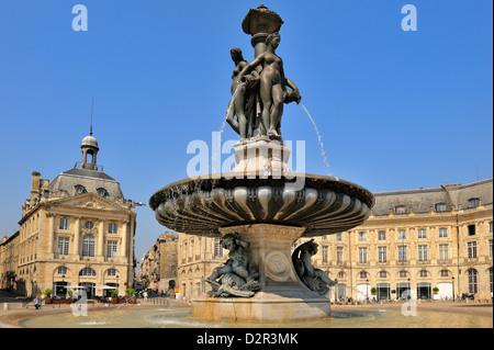 Three Graces Fountain, Place de la Bourse, Bordeaux, UNESCO World Heritage Site, Gironde, Aquitaine, France, Europe - Stock Photo
