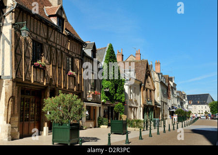 Medieval half-timbered buildings, Place Michel Debre, Amboise, Indre-et-Loire, Centre, France - Stock Photo
