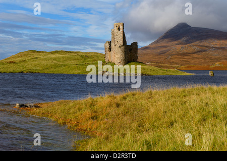 Ardvreck Castle and Loch Assynt, Sutherland, North West Highlands, Scotland, United Kingdom, Europe - Stock Photo