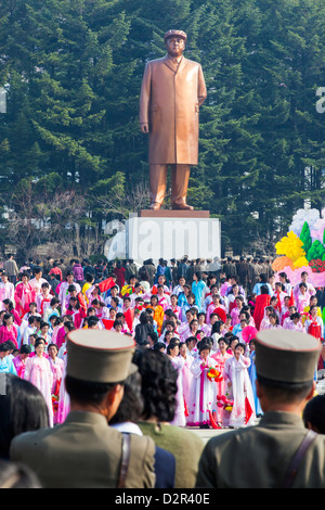 Celebrations on the 100th anniversary of the birth of President Kim Il Sun, in Pyongshong, outside Pyongyang, North - Stock Photo