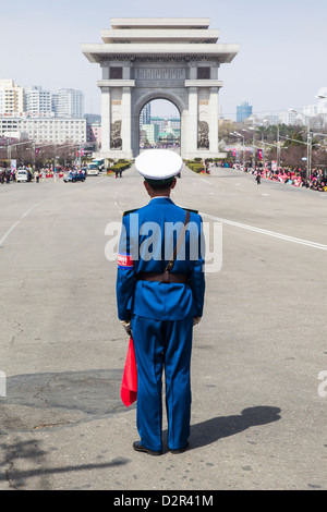 Street celebrations on the 100th anniversary of the birth of President Kim Il Sung, April 15th 2012, Pyongyang, - Stock Photo