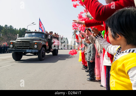 Military parade during celebrations on the 100th anniversary of the birth of President Kim Il Sung, Pyongyang, North - Stock Photo