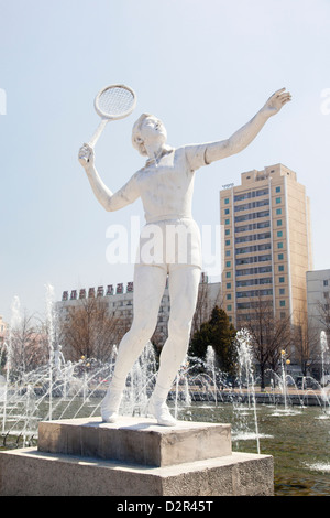 Fountains in front of the Pyongyang Indoor Sports Stadium, Pyongyang, North Korea - Stock Photo