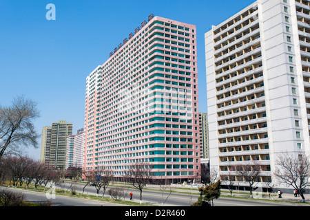 Modern apartment buildings, Pyongyang, Democratic People's Republic of Korea (DPRK), North Korea, Asia - Stock Photo