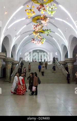 One of the many 100 metre deep subway stations on the Pyongyang subway network, Pyongyang, North Korea - Stock Photo