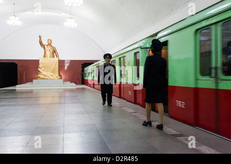 One of the many 100 metre deep subway stations on the Pyongyang subway network, Pyongyang, North Korea - Stock Photo