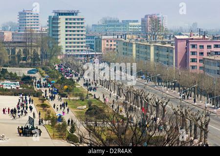 City streets, Hamhung, Democratic People's Republic of Korea (DPRK), North Korea, Asia - Stock Photo