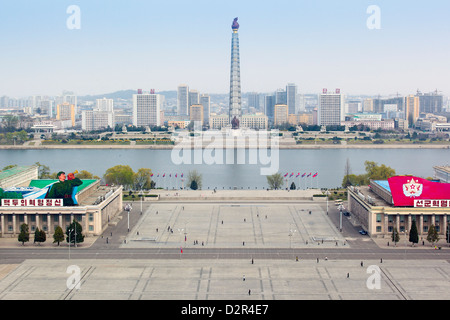 Elevated view over Kim Il Sung Square, Pyongyang, Democratic People's Republic of Korea (DPRK), North Korea, Asia - Stock Photo